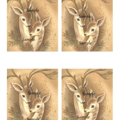 Vintage Christmas Reindeer 4 x image card making gift tags Printable Download