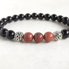 Black Onyx Gemstone & Natural Red Earth Jasper Bead Bracelet
