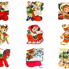 9 x Vintage Christmas Gift Tags Craft Images Deer Gingerbread - Digital Download