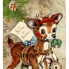 Christmas Reindeer Bunny 2 x Large Gift Tags  9.6cm x 16.8cm - Digital Download
