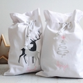Personalised Santa Sack White with Christmas Tree and Pink Star