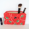 Red strawberry make up pouch with black cat