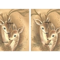 Vintage Christmas Reindeer 2 x image card making gift tags Printable Download