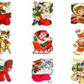 9 x Vintage Christmas Gift Tags Craft Images Deer Gingerbread - Digital Download