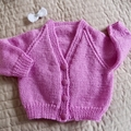 3-9mths - Hand knitted cardigan in Cream & multi colours: girl, washable, OOAK