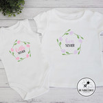 Big Sister Little Sister T shirt and bodysuit set. New Baby gift. Silbling wear