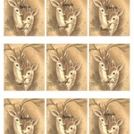 Vintage Christmas Reindeer 9 x image card making gift tags Printable Download