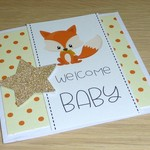 Unisex Welcome baby card - baby fox