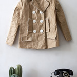 Brown paper sculpture Vintage Jacket peacoat