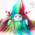 "Handmade yeti artist bear, rainbow faux fur monster plush ""Bubbles"""