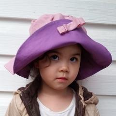 Kids wide brim sun hat - pink purple beach hat