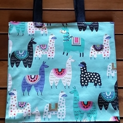 Lined Tote bag - Happy Llama print