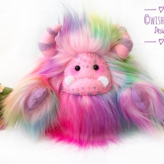 "Yeti artist bear, fantasy creature, rainbow faux fur monster plush ""Gumdrop"""