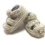 Baby Sandal Shoes, Beige , 3 - 9 mths, Hand Knit