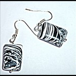 Black and white Turkey turquoise earrings with silver ear wires