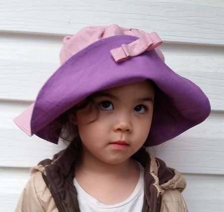 Kids wide brim sun hat - pink purple beach hat