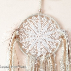 Small white and gold shimmer dreamcatcher with tassels and ribbons