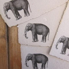 Elephant stationery, Printed Handmade paper sheets, Recycled Writing paper.