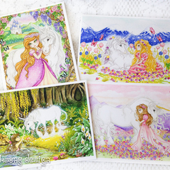 Girls birthday card, blank greeting card, Unicorn and princess greeting card set