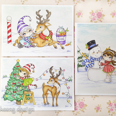 Christmas card set, reindeer, elves and snowman themed 5 x 7 inches.
