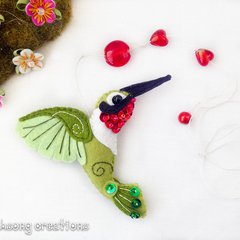 Red and green felt Hummingbird hanger, wall decoration.