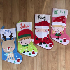 Gorgeous custom Christmas stockings. With 3D Rudolph, Elf boy&girl and santa.