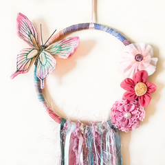 Butterfly hoop wall hanging.