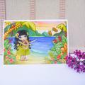 Ocean greeting card set, seahorse unicorn, mermaid, whales and hula girl set