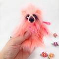 """Artist bear, peach faux fur miniature teddy bear """"Melon"""""""