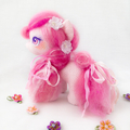 "Pony art doll, OOAK, fabric cloth horse ""Strawberries and Cream"""
