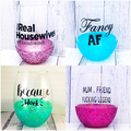Personalised glitter stemless wine glass, teacher gift with quote & name