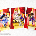 Circus greeting card set, circus elephant, trapeze and juggler   5 x 7 inches.