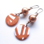 Sunrise ball white gold  drop polymer clay earrings