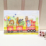 Boy's birthday card, blank greeting card animal train and boy 5x7 folded card