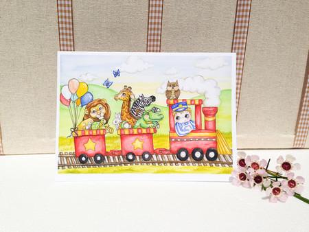 Boy's birthday card, blank greeting card animal train and boy 5x7 folded card