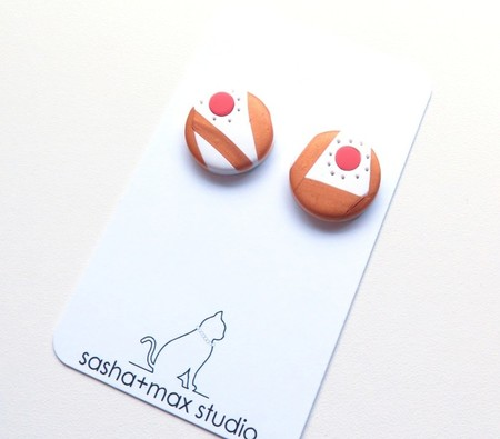 Sunrise 2 white gold  coral polymer clay button earrings