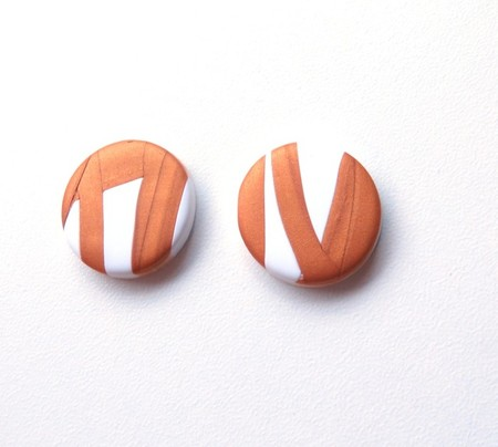 Sunrise 1 white gold  button polymer clay stud earrings