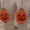 Happy Halloween!!          Beaded Pumpkin Design dangle earrings.