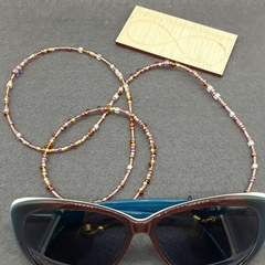 Brown, Gold Purple Beaded Glasses Holder Reading Glasses Sunglasses Lanyard