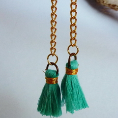 Mini green tassel earrings on gold chain