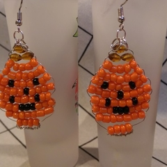 Fun Beaded Pumpkin Design dangle earrings.