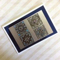 'Silver Patterned Medieval Panels' Birthday Card