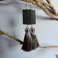 Silky grey tassel earrings with black/grey beads