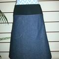 Blue Denim Skirt with Pocket & Stretch Waist