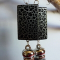 Silky grey tassel earrings with black/grey beads