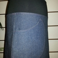 Blue Denim Skirt with Pocket & Stretch Waist