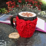 Red mug cozy, coffee cosy, cup warmer, Christmas, birthday, teacher gift, unisex