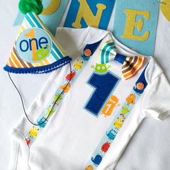 Monster Boys Personalized Bow Tie, Suspenders, Name & Number 1 Onesie