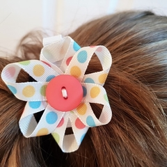 Soft Pastel Polka Dot Ribbon Flower Hair Clip