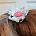 Soft Pastel Polka Dot Ribbon Flower Hair Clip